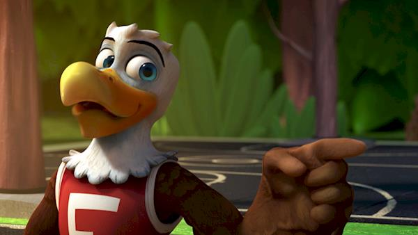 Eddie Eagle in a Park on a Basketball Court