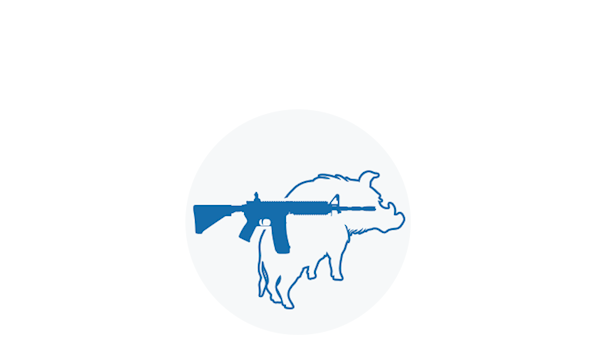 Blue Icon of a Sporting Rifle Displayed Over a Wild Boar