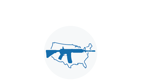 Blue Icon of a Sporting Rifle Over a Map of the United States