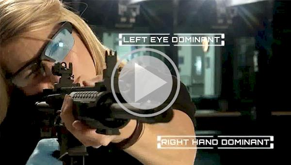 Female Shooter Aiming an AR Surrounded By Instruction Illustrations