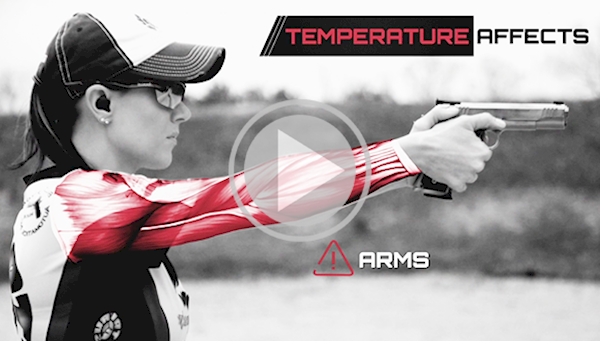Female Pistol Shooter Overlaid with Graphics of the Affect of Temperature