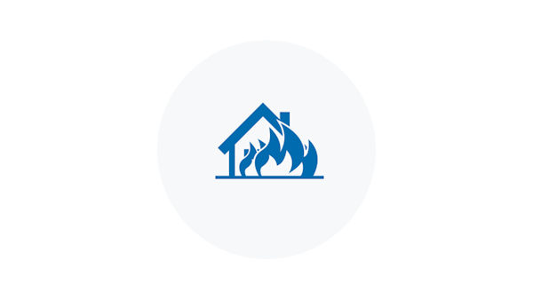 Blue Icon of a House On Fire