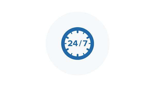 Blue Icon of 24 hours a Day 7 Days a Week