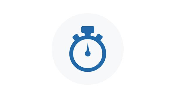 Blue Icon of a Stop Watch