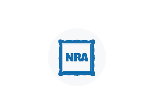 Blue Icon of a Framed NRA Logo