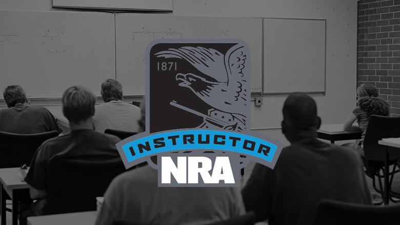 NRA Instructor Logo on a Dark Background of a Classroom