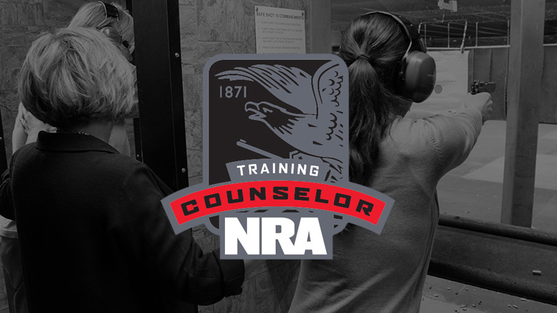 NRA Training Counselor Logo on a Dark Background of Women Shooting at a Gun Range