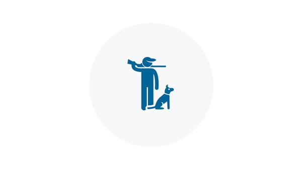 Blue icon of a hunter with his dog