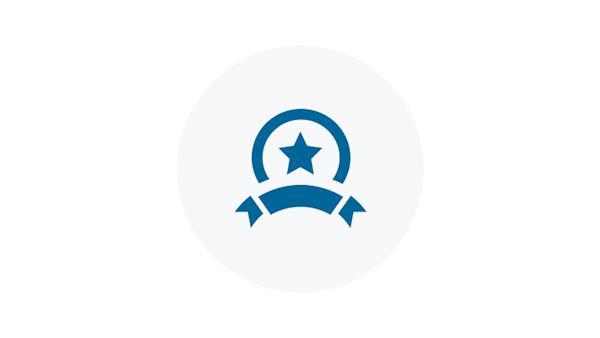 Blue Icon of an Award Ribbon