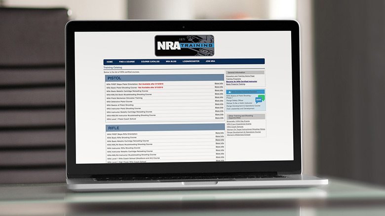 Notebook computer with NRA Online Training web site on the screen