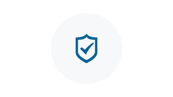 Blue Icon of a Checkmark on a Shield