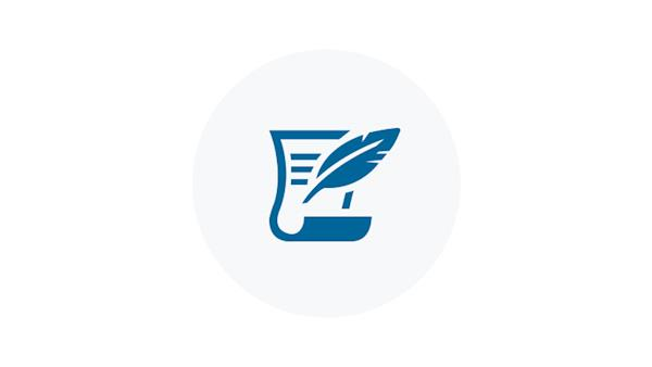 Blue Icon of Quill and Paper