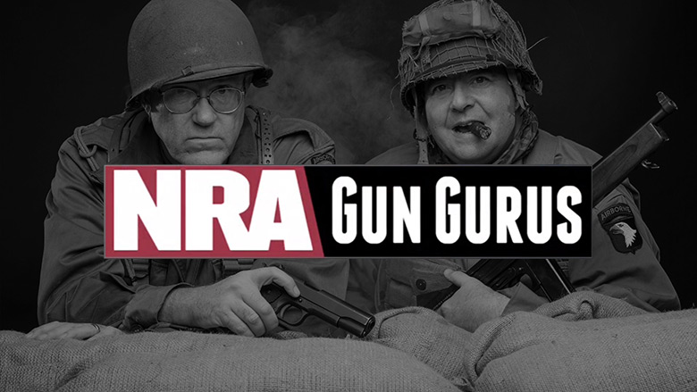 NRA Gun Gurus Logo with Jim Supica and Phil Schreier in the Background