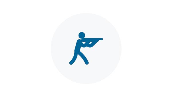 Blue icon of a recreational shooter