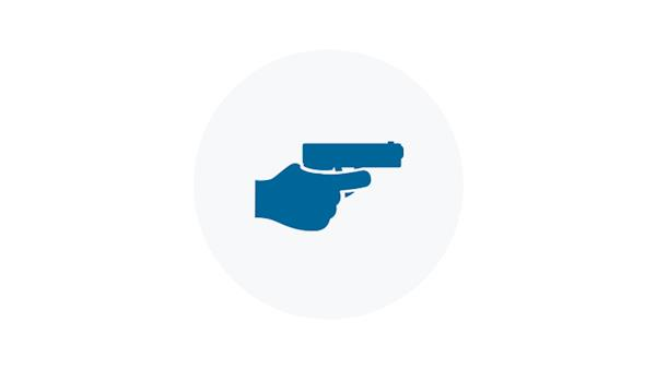 Blue Icon of a Figure holding a Pistol