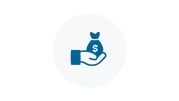Blue Icon of a Hand with a Bag of Money