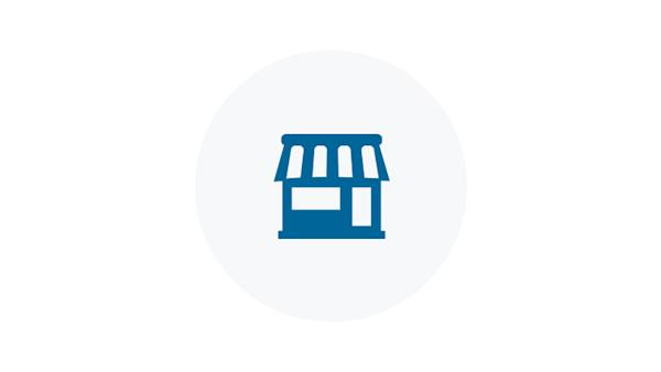 Blue Icon of a Shop
