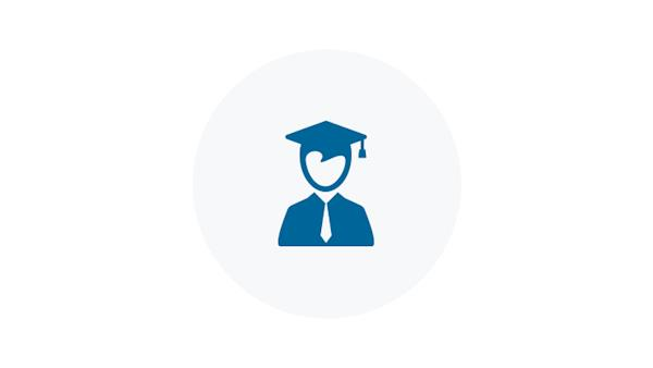 Blue icon of a student
