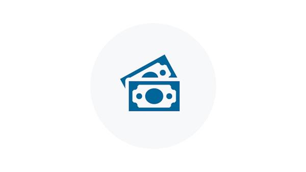 Blue Icon of Dollar Bills