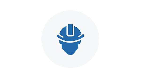 Blue Icon of a Person in a Hard Hat