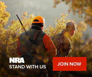 NRA Join Now Call to action with hunters walking through the woods