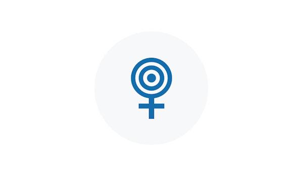Blue Icon of a Female Gender Symbol with a Target