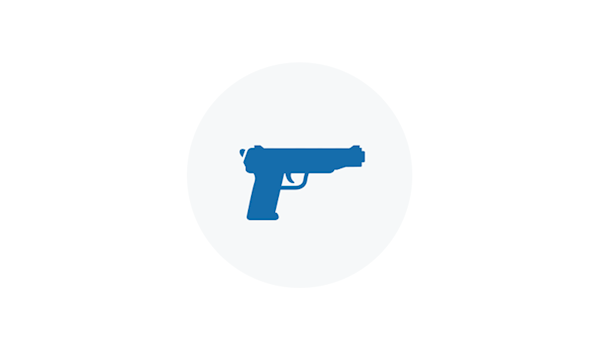 Blue Icon of a Pistol