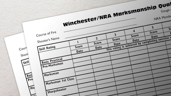 Winchester NRA Marksman Qualification Score Sheet