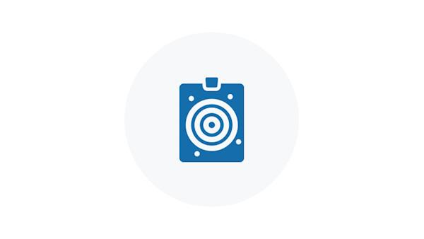 Blue Icon of a Used Paper Target