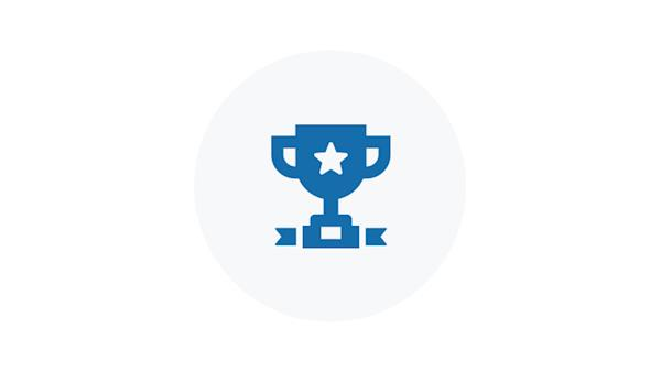 Blue Icon of a Trophy Cup