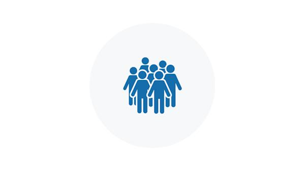 Blue Icon of a Crowd of People