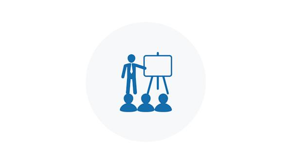 Blue Icon of a Person Presenting to An Audience