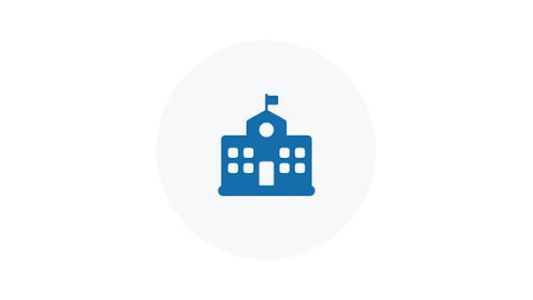 Blue Icon of a School