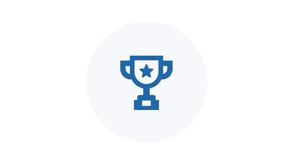 Blue Icon of a Award Cup with a Star on it