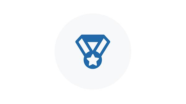 Blue Icon of a Blue Ribbon