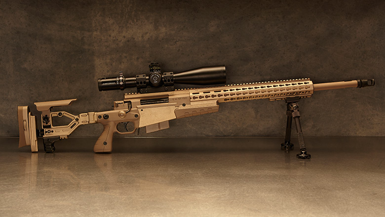 Camouflaged Long Range Rifle with Scope