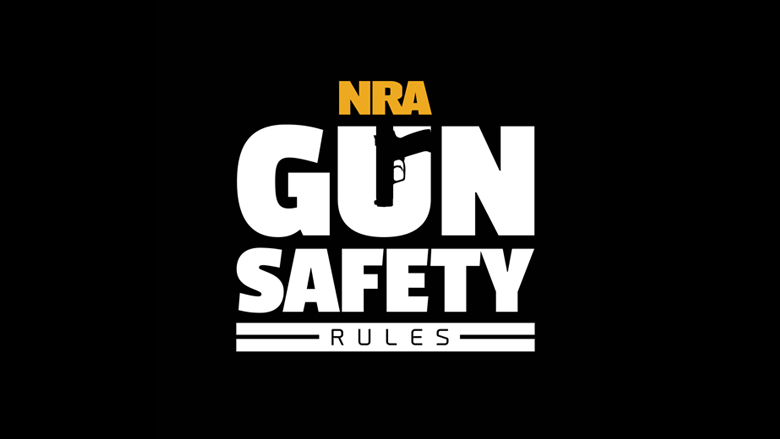 NRA Gun Safety Rules Logo on a Dark Background