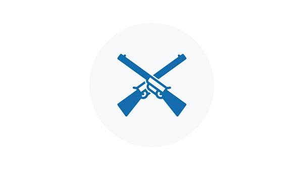 Blue Icon of a Rifle and Shotgun