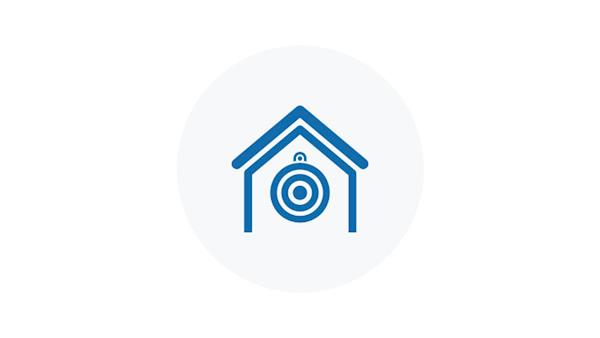 Blue Icon of a Home Air Rifle Range with Target