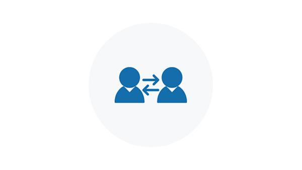 Blue Icon of Two People Communicating