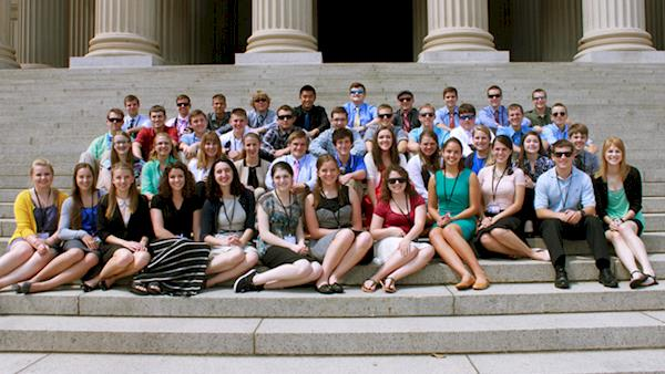 Crowd of Scholarship Award Winners on the Steps of Congress