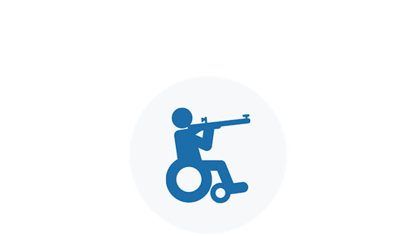 NRA Icon of a hunter in a wheelchair