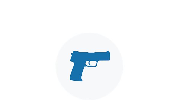Blue Icon of a Firearm Pointed in a Safe Direction