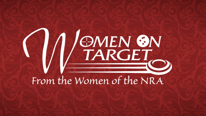 NRA Women On Target Logo on a Red Background