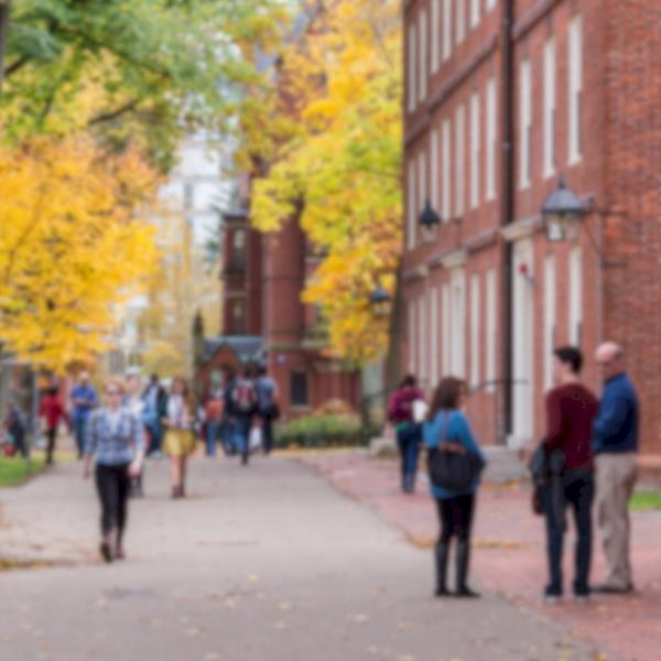 Sidewalk with People at a University Campus