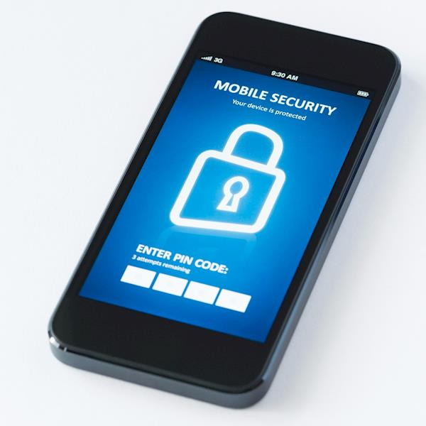 """Mobile Phone Displaying a """"Mobile Security"""" Login Screen"""