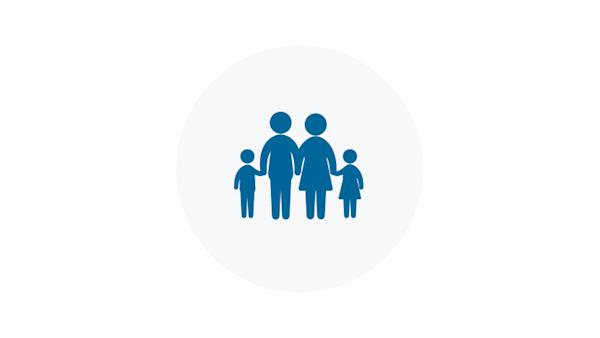 Blue Icon of a Family