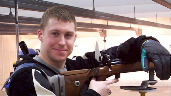 NRA Collegiate Rifle Competitor at the Range