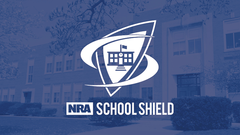 NRA School Shield Logo on a Blue Background