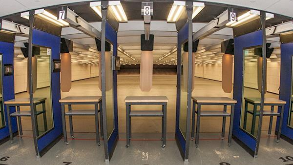 Looking downrange at the NRA indoor shooting range.